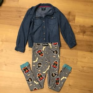 OshKosh Denim-like shirt/Harry Potter PJ bottom-5T